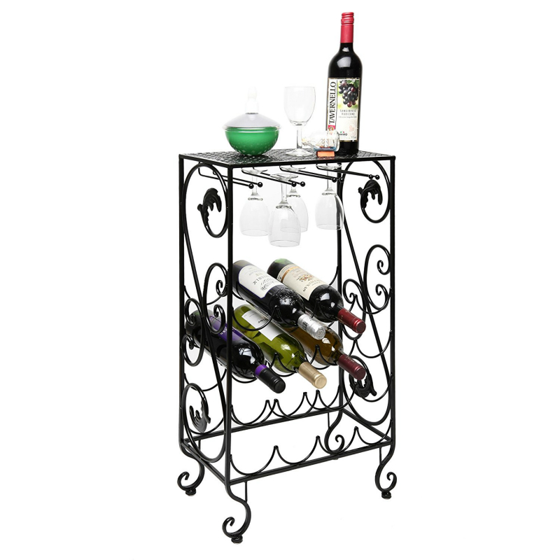 metal wine rack 16 bottle and 8 wine glass grapevine motif wine storage organizer display rack - Metal Wine Rack