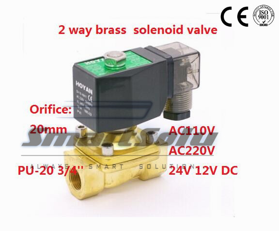 Free shipping 2 way Brass water solenoid valve zero pressure start G3/4 220V AC Orifice 20mm normal close PU-20 with plug type free shipping dsg 03 3c3 220v ac 1 4 solenoid operated directional control valve terminal box type plug in connector type