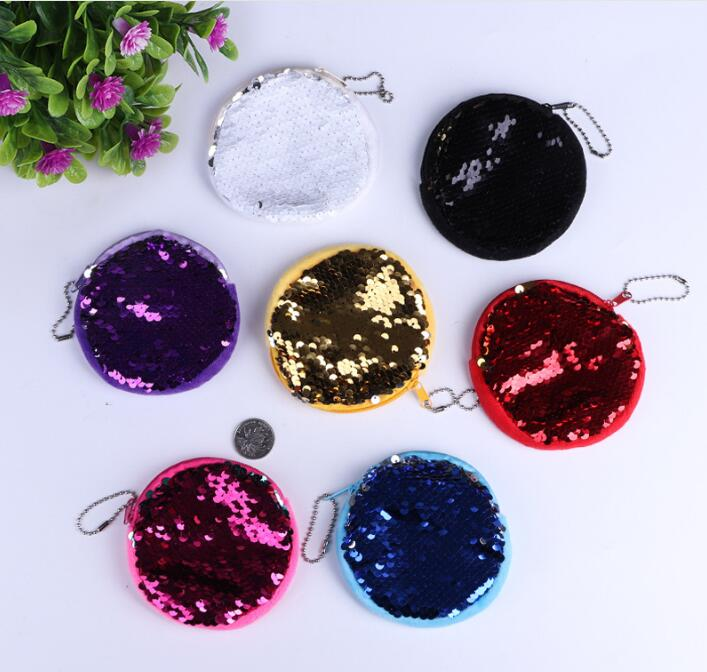 Girls Fashion Zipper Clutch Multifunction Purse Womens Small Wallets Double Color Sequins Bag Coin Wallet Ladies Purse Pouch