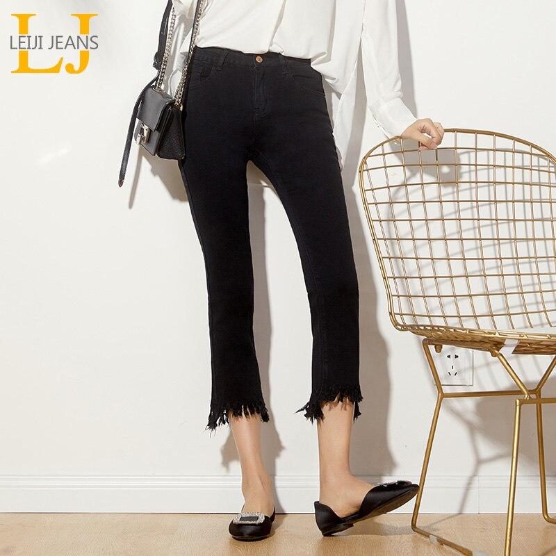 LEIJIJEANS Autumn Plus Size L-6XL Solid Black Tassel Mid Waist Ankle Length Stretch Denim Skinny Flare Jeans For Women 6132