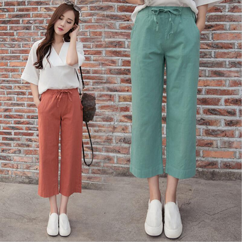 M-6XL 7XL Plus size women straight high waist   wide     leg     pants  ,big size casual cotton linen   pants  ,black blue red trousers