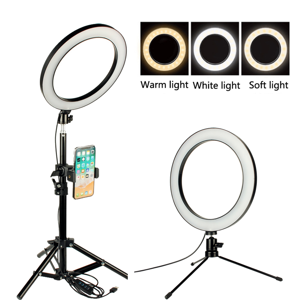 Dimmable LED Ring Light for Makeup Selfie Photographic Ring Light Rotatable Phone Holder for Smartphone/Camera YouTube Video