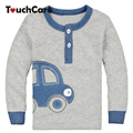 Algodão orgânico Outono Inverno Projeto Do Carro Crianças Infantis Roupas Crianças T-shirt Bonito Do Bebê Menino Manga Longa T camisas de Algodão