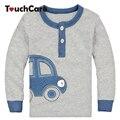 Algodón orgánico Otoño Invierno Coche Diseño Niños Ropa Infantil Camiseta de Los Niños Lindo Bebé de Algodón de Manga Larga camisetas