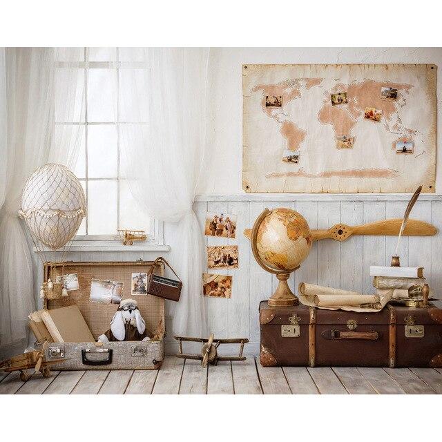 Personnaliser polyester vinyle intérieur carte du monde papier peint photographie décors pour enfants fête photo studio portrait arrière-plan