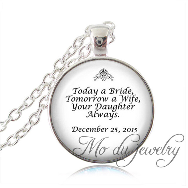 Quote Jewelry | Silver Plated Chain Father Of The Bride Wedding Necklace Quote