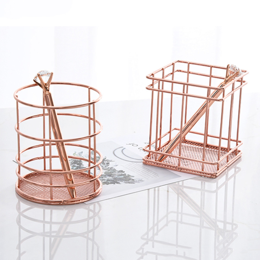 Rose Gold Metal Pen Pencil Holder Oval Shape Desk Stationery Organizer Wired Mesh Design Kitchen Bathroom Cosmetic Basket Panier