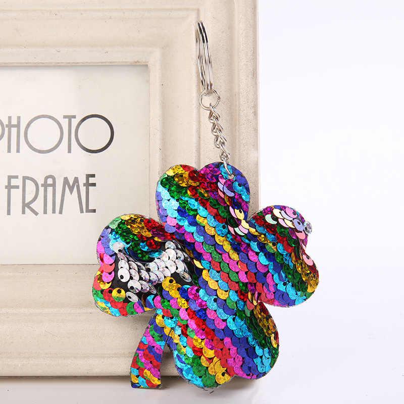 Четыре листа клевера брелок Блестящий помпон пайетки брелок подарки для Для женщин Llaveros Mujer подвески автомобиля сумка аксессуары цепочки для ключей