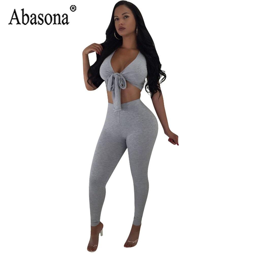 f9b7c26d1f0d Abasona Women Solid 2 Piece Sets Bodycon Jumpsuit Women Short Sleeve V Neck  Bandage Jumpsuit Summer