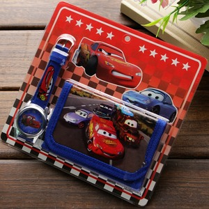 New Children Cartoon Wallet Watch Set Lovely car story Watches Girl or Boy Birthday Gifts Quartz Leather Students Clock Hot sale(China)