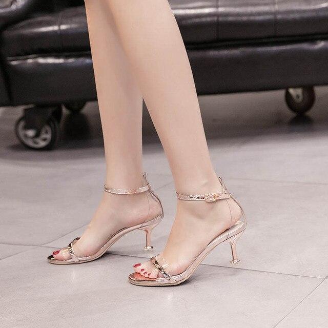 GENSHUO 2018 Donne di Estate Sandali Stiletto Scarpe da Donna Marche Sexy Tacchi Estate Sandali Danza Scarpe Delle Donne Pompe Oro Argento