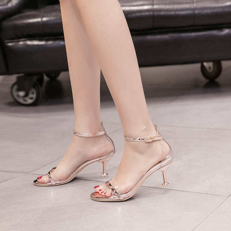 GENSHUO <font><b>2018</b></font> Summer Women Stiletto <font><b>Sandals</b></font> Women's Shoes Brands <font><b>Sexy</b></font> Summer Heels Dancing <font><b>Sandals</b></font> Shoes Women Pumps Gold Silver image