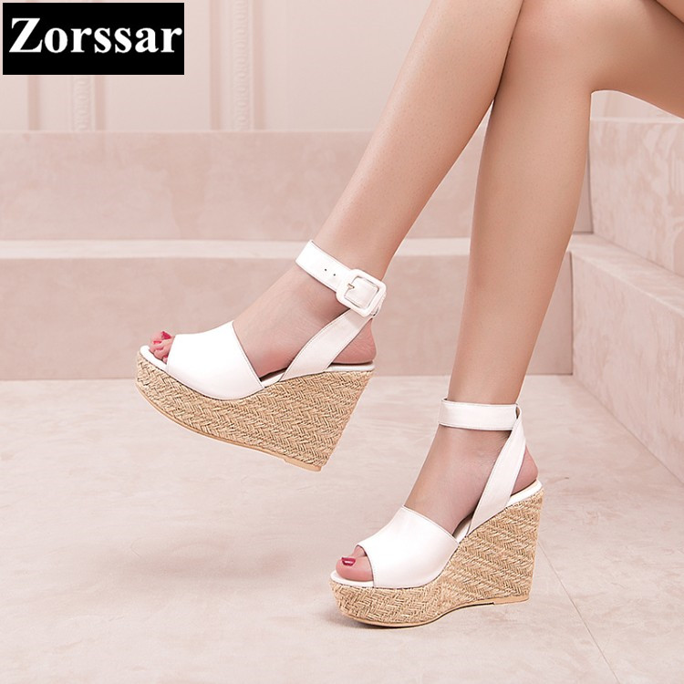 Summer Women shoes platform High heels wedges sandals open toe 2017 NEW Fashion straw Genuine leather women's heels pumps shoes woman fashion high heels sandals women genuine leather buckle summer shoes brand new wedges casual platform sandal gold silver