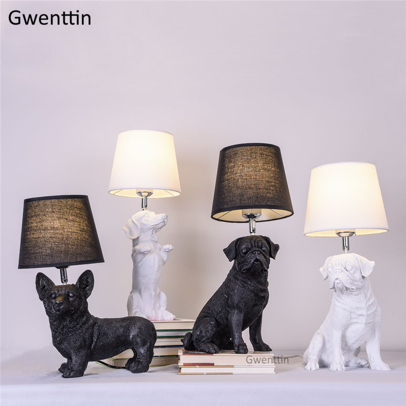 Nordic Puppy Table Lamps Bedroom Bedside Lamp Modern Animal Led Resin Dog Stand Desk Light Home Decor Fixtures Luminaire E27Nordic Puppy Table Lamps Bedroom Bedside Lamp Modern Animal Led Resin Dog Stand Desk Light Home Decor Fixtures Luminaire E27