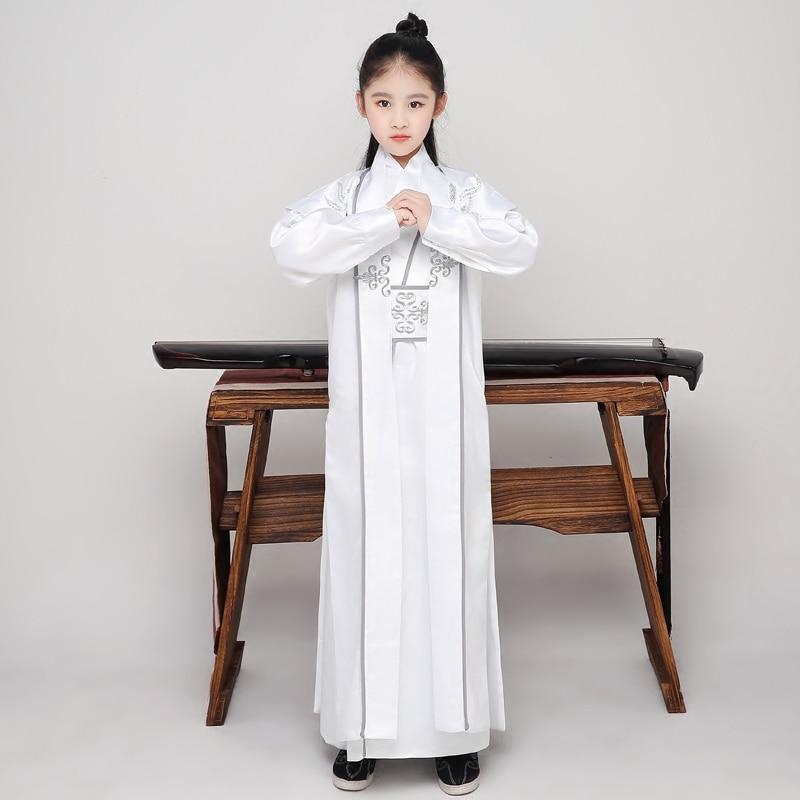 Enfants fille chinois traditionnel Costume garçon ancien Hanfu vêtements enfants Tang dynastie Folk danse tissu scène Cosply tenue 90