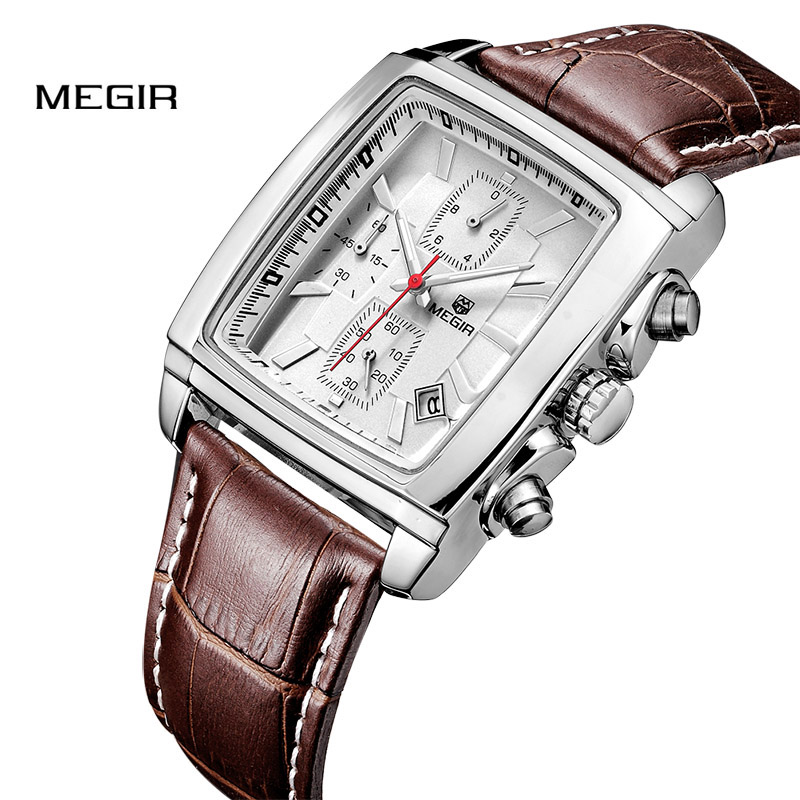 Band Quartz Genuine Leather Chronograph Watch Male Luminous Clock  2028