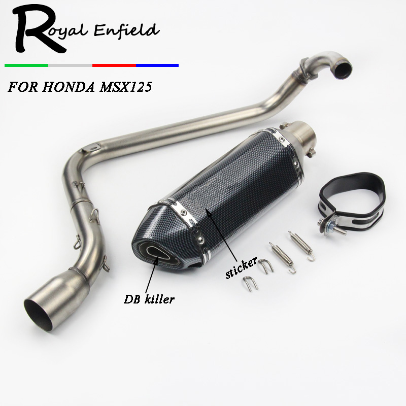 Universal Motorcycle Exhaust pipe muffler + Titanium Tail Exhaust System Vent Pipe Stainless Fit for HONDA Grom MSX 125Universal Motorcycle Exhaust pipe muffler + Titanium Tail Exhaust System Vent Pipe Stainless Fit for HONDA Grom MSX 125