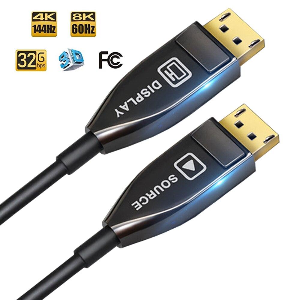 Fibre optique displayPort DP à DP câble Support 32Gbps haute vitesse 8k @ 60Hz 4k 140Hz DP 1.4 câble