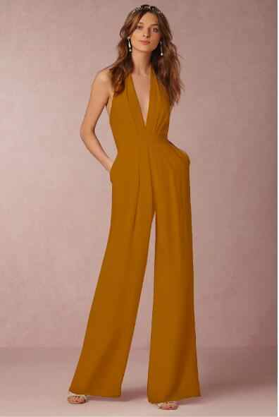 f6dcc18e00c1 2019 New Casual Wedding Jumpsuit Sexy Sleeveless Halter Elegant Jumpsuit  Ladies Coverall Deep V Sexy Halter