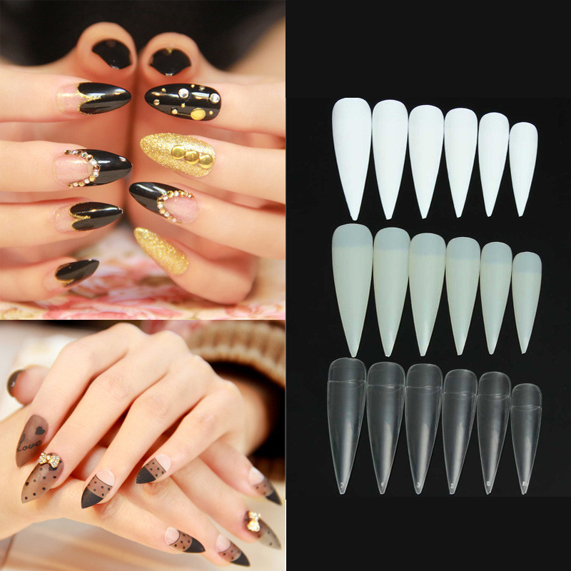 12pcs 3 Colors Nail False Long Competition Stiletto French Acrylic ...