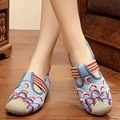 Vintage Flat New Retro Style Women Shoes Embroidery Cloudy Hollow Out Slip On Canvas Shoes Spring Autumn Driving Loafers Zapatos