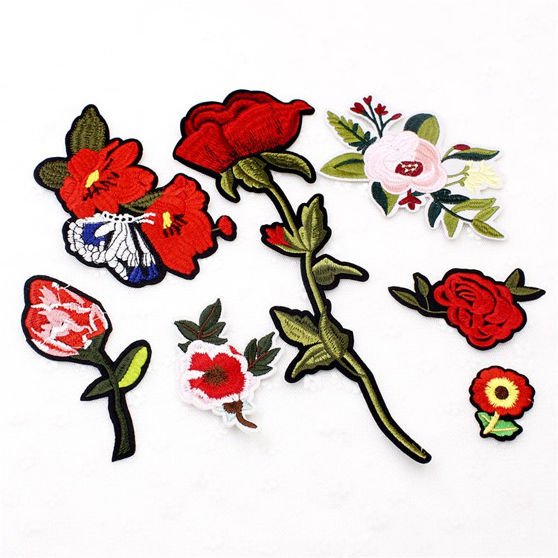 1pcs Lovely New Rose Striped Flower Scarlet Patch Stitch Embroidery in Garment Handbag Handmade DIY Craft Embroidery