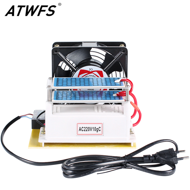 ATWFS Ozone Generator 220v 10g/h with Double Sheet Ceramic Plate Long Life Ozonizer Sterilizer Fan Excellent Heat Dissipation 220v 110v ozone generator 7g h with ceramic plate long life style longevity double sheet for chemical factory