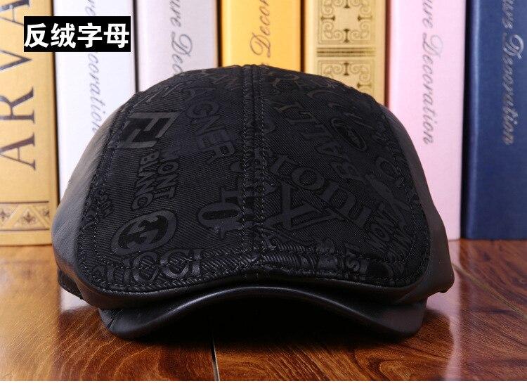 mens winter sheepskin leather baseball caps (15)