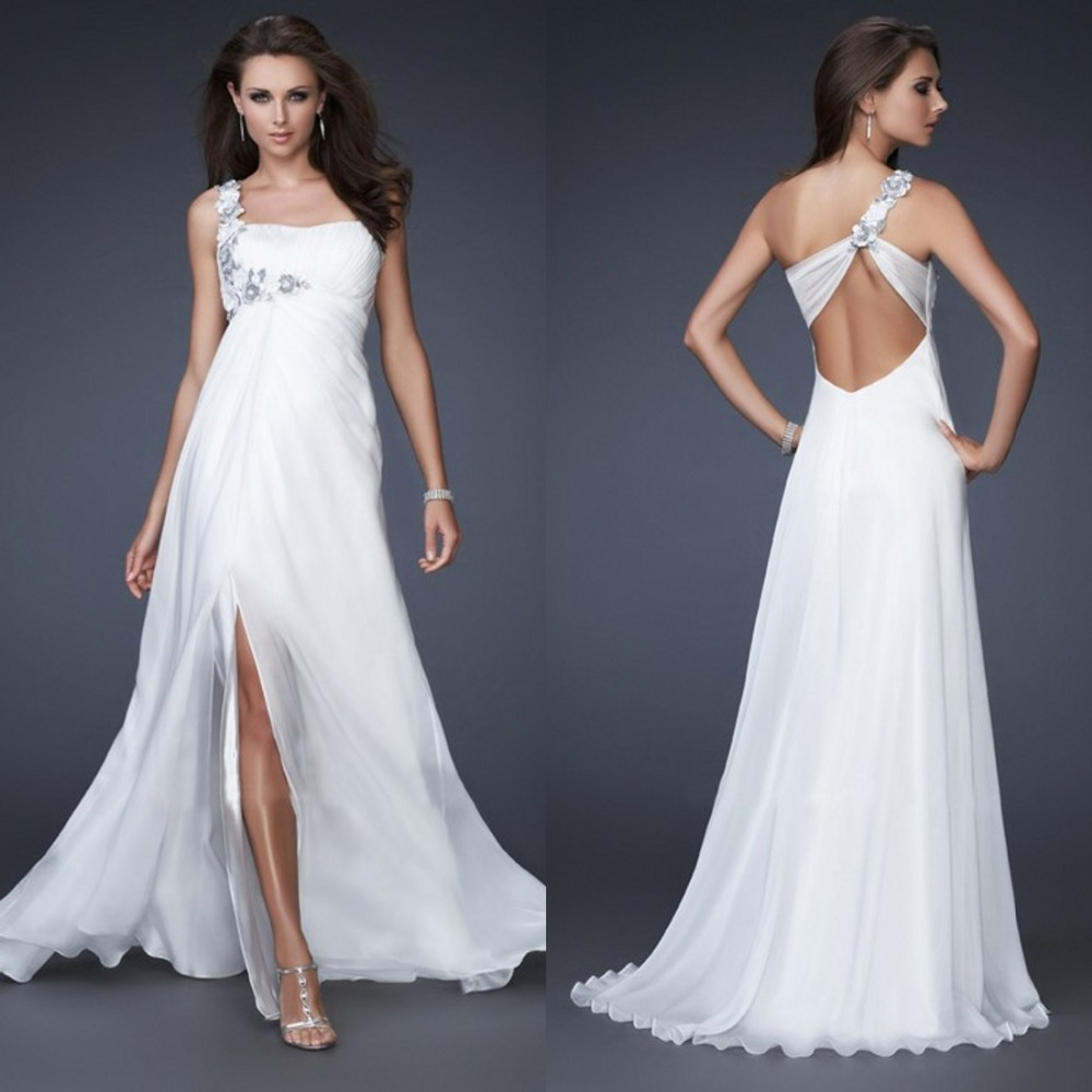 Floor-length A-line One Shoulder Split Front Side Ruffles Crystals Flower White Long Chiffon Evening Formal Dress Prom Gown