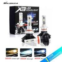 MALUOKASA 2PCs X3 ZES H4 H7 LED Car Headlight Bulb 3000K 6500K 8000K Yellow White Ice