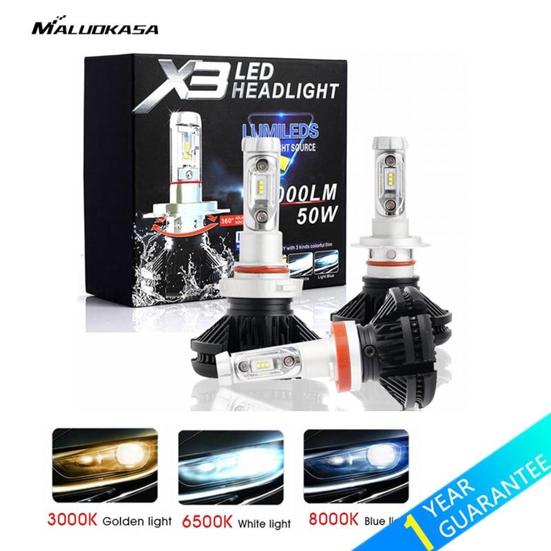 цена на MALUOKASA 2PCs X3 ZES H4 H7 LED Car Headlight Bulb 3000K/6500K/8000K Yellow White Ice Blue Lamp H11 9005 9006 LED DRL Car Lights