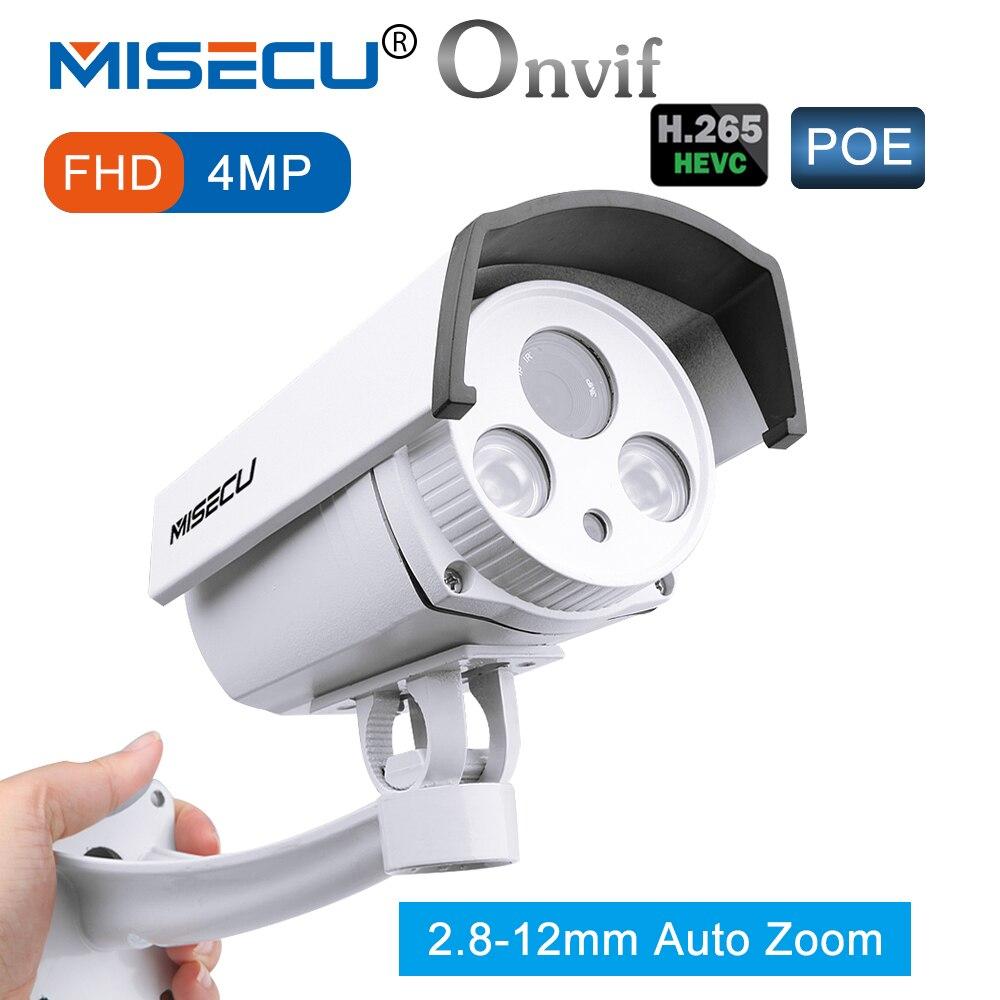 MISECU 4MP 48 v Réel POE Auto Zoom 2.8-12mm avancée H.265/H.264 Hi3516D FULL HD WDR onvif Vision Nocturne Caméra cctv de sécurité à domicile