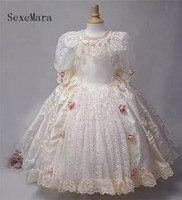 Neue Kommende schöne Prinzessin Kleid mit Halbarm Knöchel Länge Spitze Tüll Blume Mädchen Kleid mit Handgemachte Blumen Großen Bogen longo-in Kleider aus Mutter und Kind bei