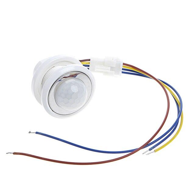2020 40mm LED PIR detektörü kızılötesi hareket sensörü anahtarı zaman gecikmesi ayarlanabilir ışık koyu