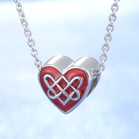 Red passion Chinese knot design fashion jewelry traditional type handmade DIY 925 silver pendant necklace