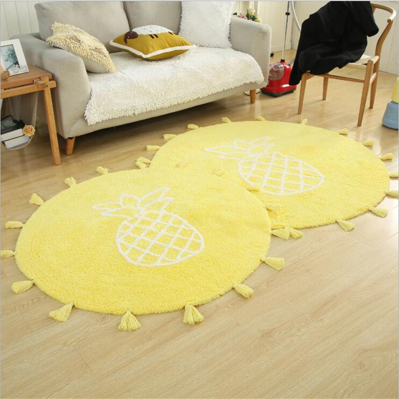 Japanese Simple Style Cotton Delicate Round Carpets For Living Room Bedroom Kid Room Soft Modern Luxury Home Carpet Area Rug Mat