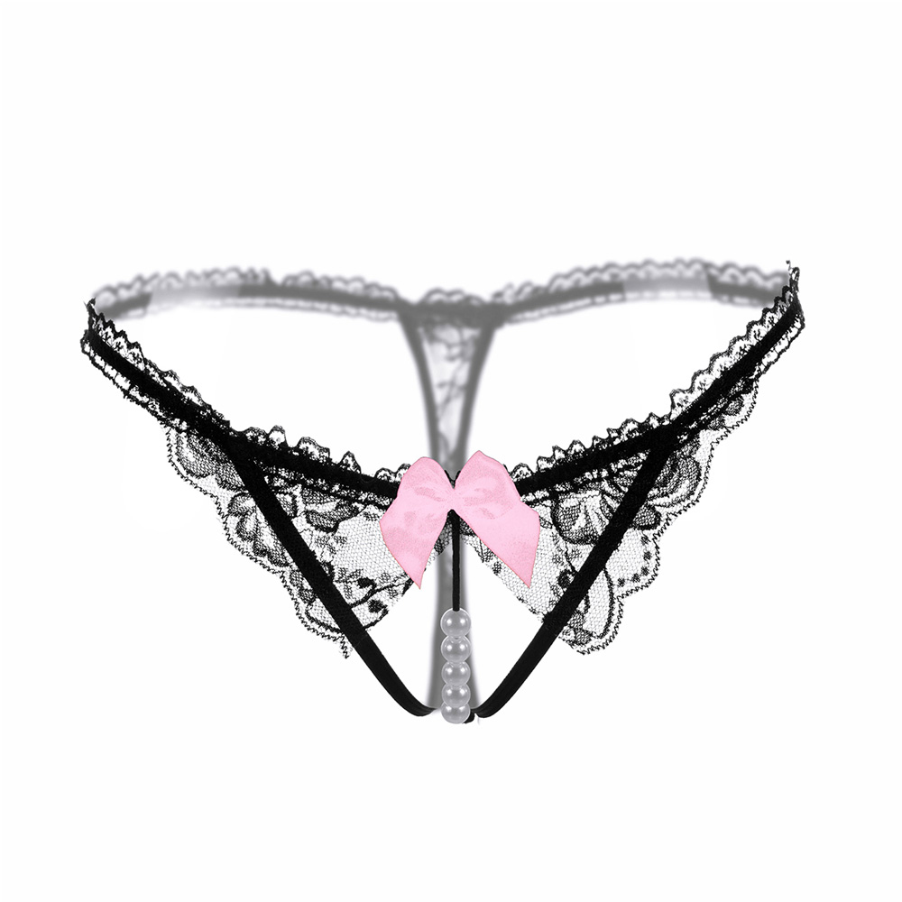 Sexy Women Lace Bowknot Low Waist Pearl Thongs Briefs Exotic Hips Temptation Sexy Lace G-String Erotic Underwear
