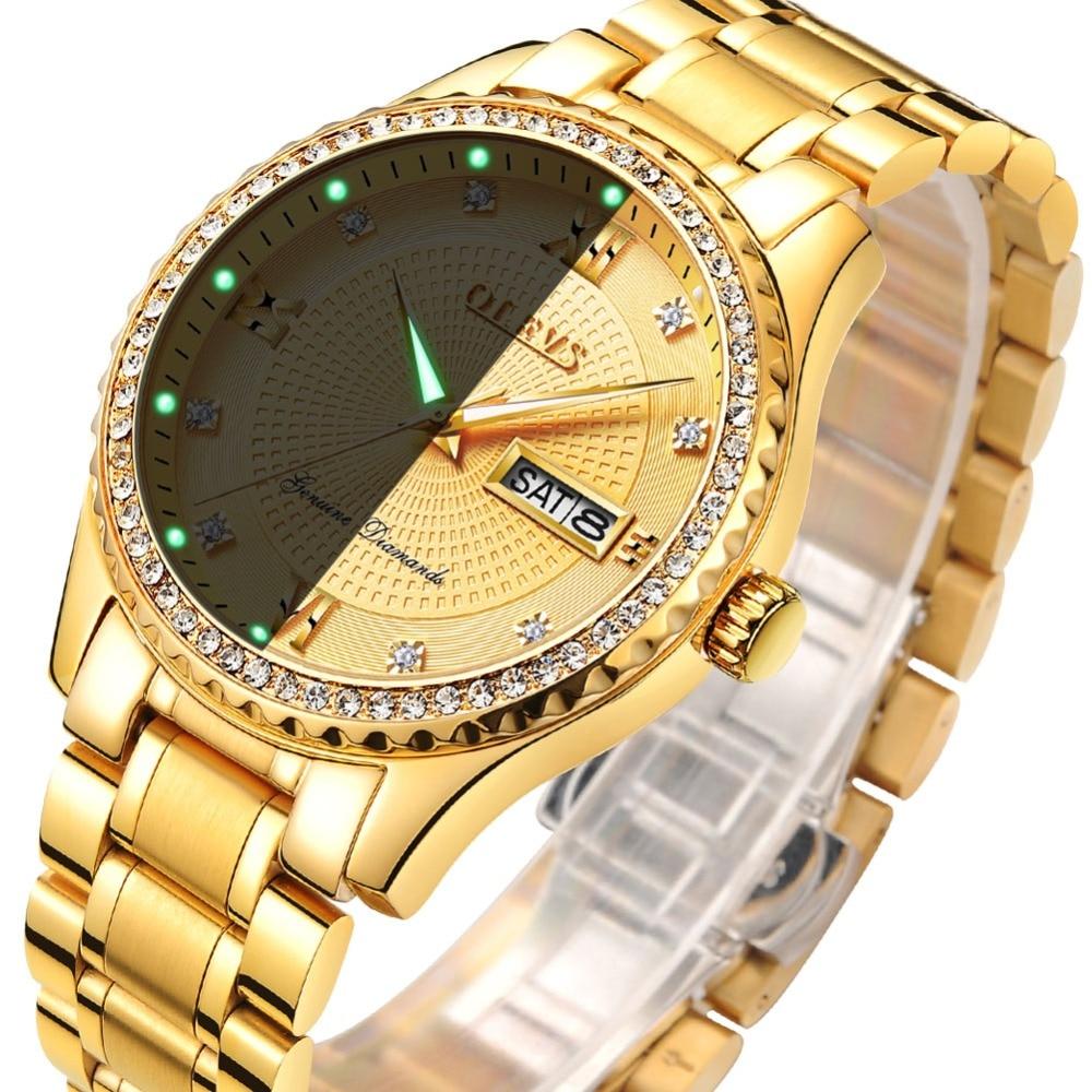 OLEVS Férfi karórák Top márka luxus teljes acél arany kvarc - Férfi órák - Fénykép 3