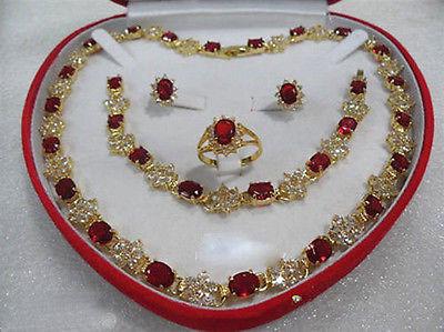 Nobleza de la Mujer natural de joyería de rubíes rojo de la gema de las mujeres 18KGP Anillo Collar Pendiente Pulsera caja Grad Chapado En Oro