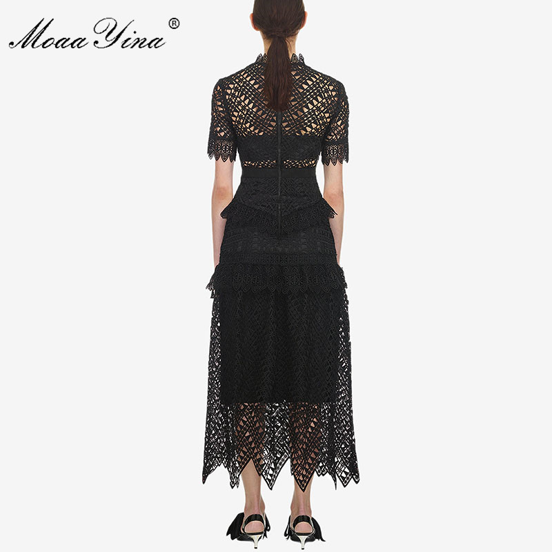 MoaaYina Primavera Verano nuevo llegan mujeres de encaje negro Vestido de manga corta de alta calidad-in Vestidos from Ropa de mujer    3