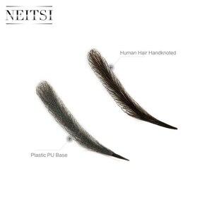 Image 5 - Neitsi kobieta jedna para fałszywe brwi realistyczne wygodne 100% ludzkie włosy Handmade fałszywe brwi do makijażu Party EM 780HH 3 #
