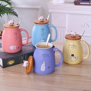 Cor dos desenhos animados leite café caneca cerâmica com tampa colher copo gato bonito resistente ao calor copo gatinho crianças copo presentes de escritório