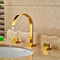 Solid Brass Golden Polish 3pcs Bathroom Faucet Vessel Sink Faucet Deck Mounted Mixer Tap With Hand Shower Hot and Cold Water