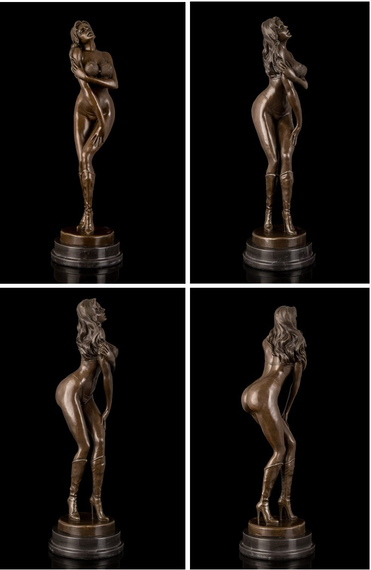 Western Bronze Sculpture Female Statue