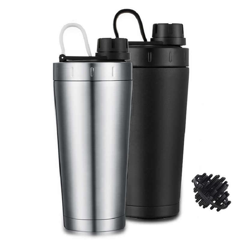 Protein Shaker Cangkir Stainless Steel Botol Air Luar Ruangan Gym Latihan Minum Susu Bubuk Mixer Perjalanan Portabel Botol Air 500 Ml