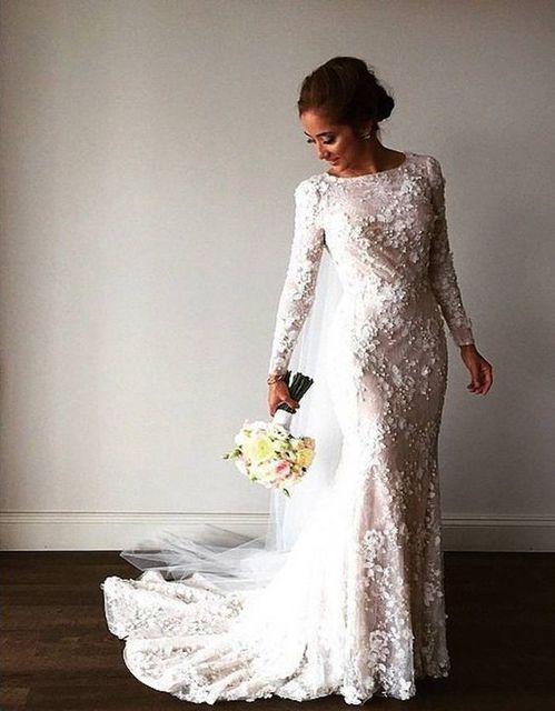 Boat neck long sleeve wedding dress