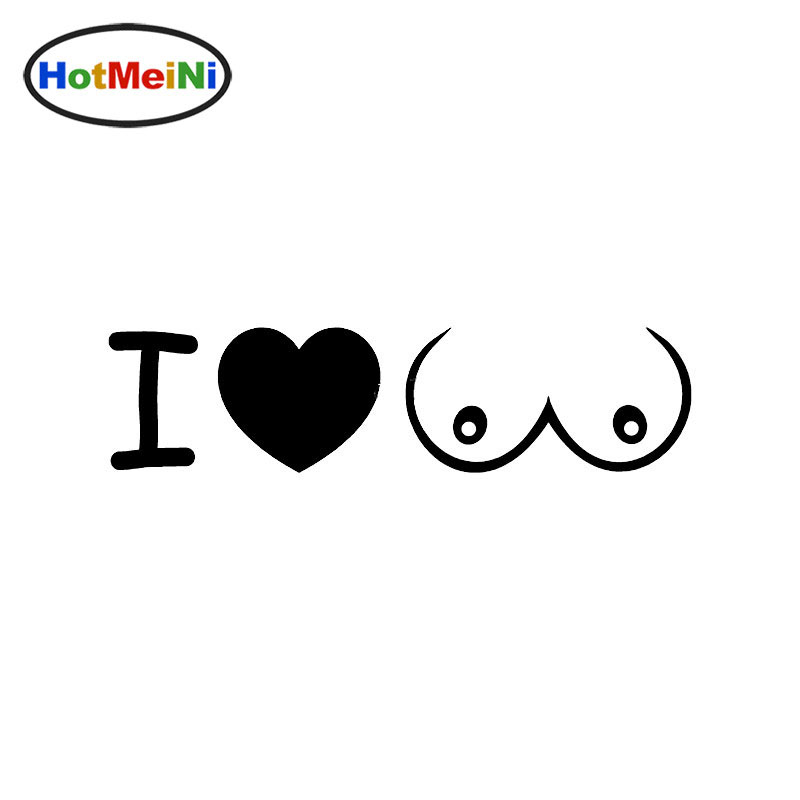 HotMeiNi Car Styling I LOVE BOOBS Heart Tits Car <font><b>Sticker</b></font> for <font><b>Motorhome</b></font> wall Vinyl <font><b>Decal</b></font> Decor 8*2inch image