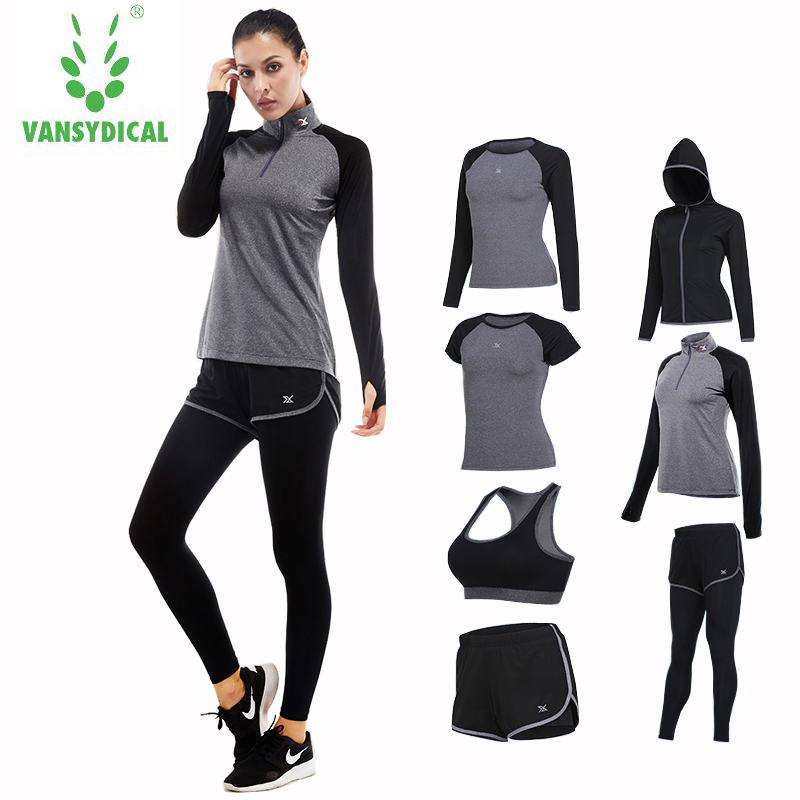 Women Yoga Running Suits Clothes Sports Set Jackets Shorts And Pants Bra Joggers Gym Fitness Compression Tights 7pcs/Sets active letter print u neck sports bra and pants twinset for women
