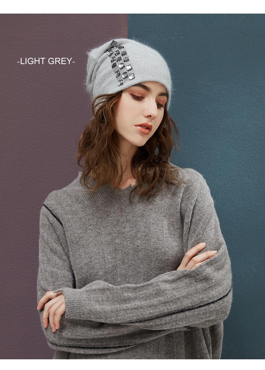 Women's Winter Beanies 2018 Stretchy Knitted Hat Flashing Glass Rhinestone Hat Female Cashmere Bonnets Elegant Warm Beanie Gorro (13)