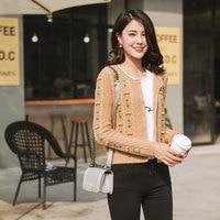 Кардиганы с цветами 2018 Для женщин 100% кашемировый свитер пальто кардиган Для женщин трикотажные вышивка короткий кардиган с кнопками